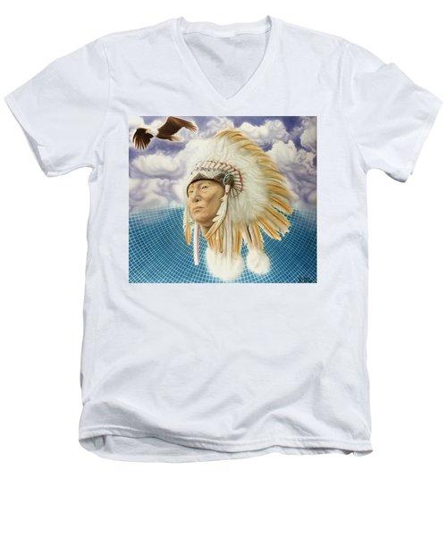 Proud As An Eagle Men's V-Neck T-Shirt by Rich Milo