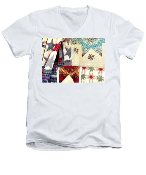 Men's V-Neck T-Shirt featuring the photograph Quilts For Sale by Janette Boyd