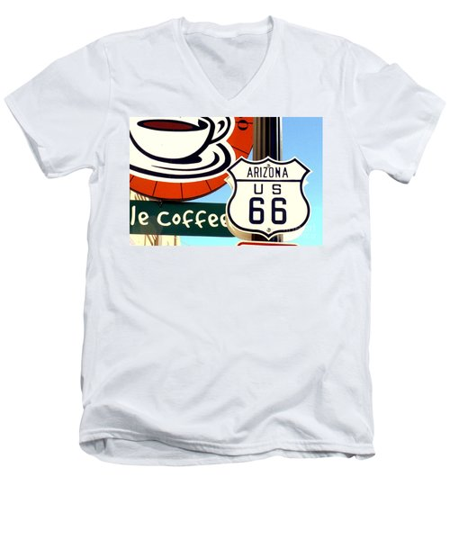 Men's V-Neck T-Shirt featuring the digital art Route 66 Coffee by Valerie Reeves