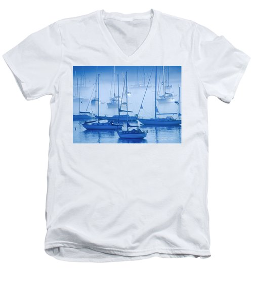 Sailboats In The Fog - Maine Men's V-Neck T-Shirt