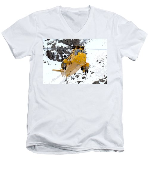 Seaking Helicopter Men's V-Neck T-Shirt by Paul Fearn