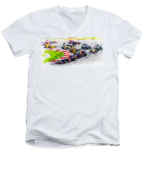 Sebastian Vettel Leads The Pack Men's V-Neck T-Shirt