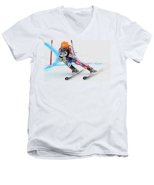 Ted Ligety Skiing  Men's V-Neck T-Shirt by Lanjee Chee