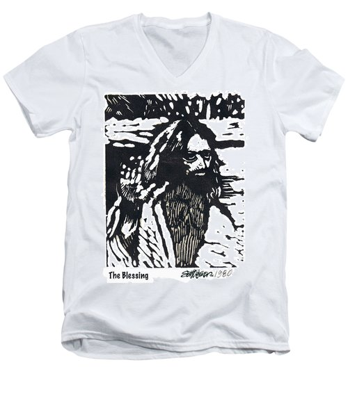 Men's V-Neck T-Shirt featuring the relief The Blessing by Seth Weaver