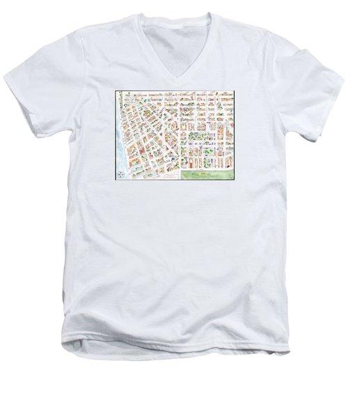 The Greenwich Village Map Men's V-Neck T-Shirt by AFineLyne