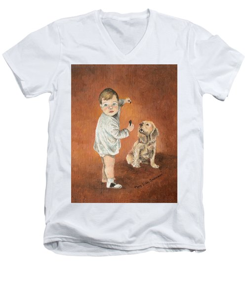 Men's V-Neck T-Shirt featuring the painting The Guilty Ones by Mary Ellen Anderson