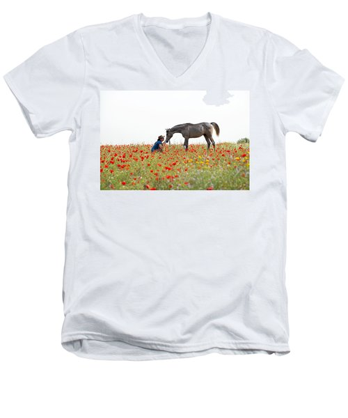 Men's V-Neck T-Shirt featuring the photograph Three At The Poppies' Field... 4 by Dubi Roman
