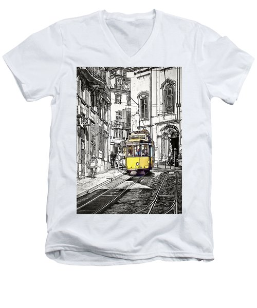 Lisbon Tram 28 Men's V-Neck T-Shirt