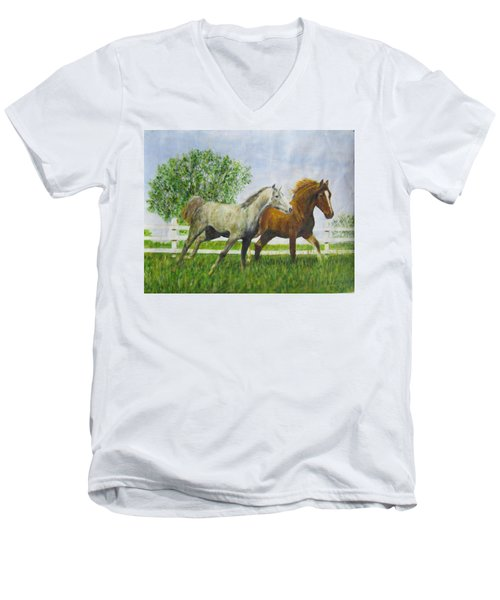Two Horses Running By White Picket Fence Men's V-Neck T-Shirt