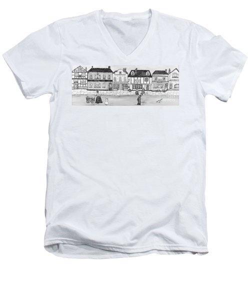 Men's V-Neck T-Shirt featuring the painting Villaggio Antico by Loredana Messina