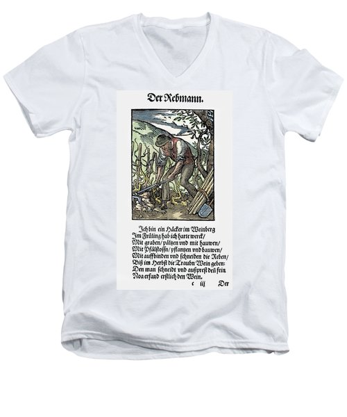 Men's V-Neck T-Shirt featuring the painting Vinegrower, 1568 by Granger
