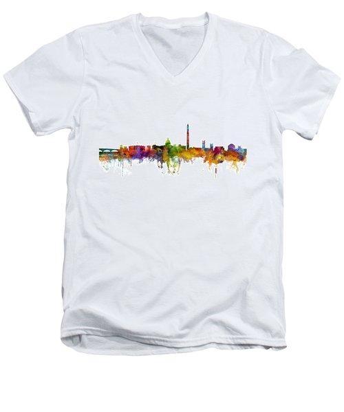 Washington Dc Skyline Men's V-Neck T-Shirt by Michael Tompsett