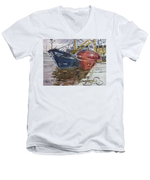 Men's V-Neck T-Shirt featuring the painting Wexford Fishing Boats by Donald Maier