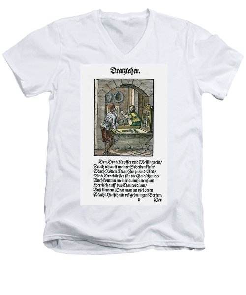 Men's V-Neck T-Shirt featuring the drawing Wiredrawer, 1568 by Granger