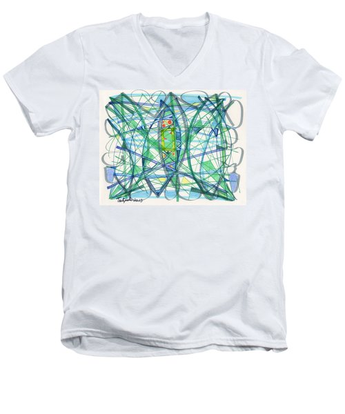 2013 Abstract Drawing #23 Men's V-Neck T-Shirt by Lynne Taetzsch