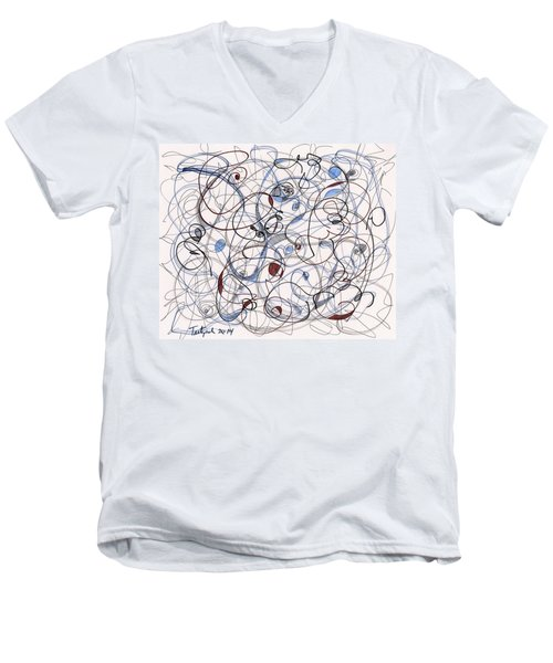2014 Abstract Drawing #6 Men's V-Neck T-Shirt by Lynne Taetzsch