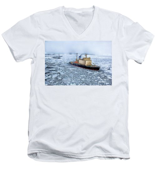 Men's V-Neck T-Shirt featuring the photograph Arctic Sea Ocean Water Antarctica Winter Snow by Paul Fearn