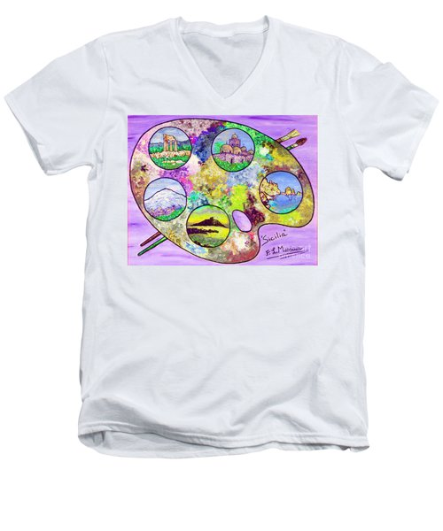 Sicily On A Palette Men's V-Neck T-Shirt by Loredana Messina