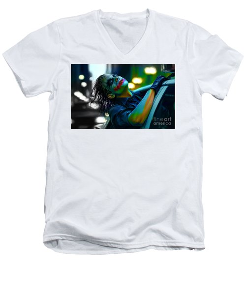 Heath Ledger Men's V-Neck T-Shirt by Marvin Blaine