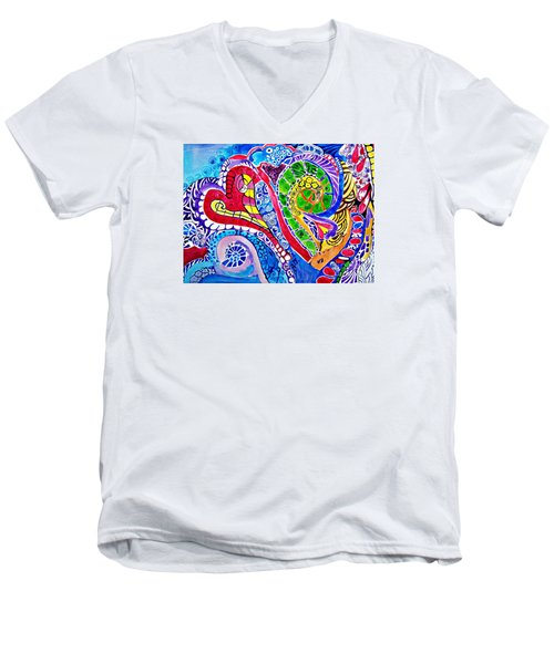 Love Is In The Air Men's V-Neck T-Shirt by Sandra Lira