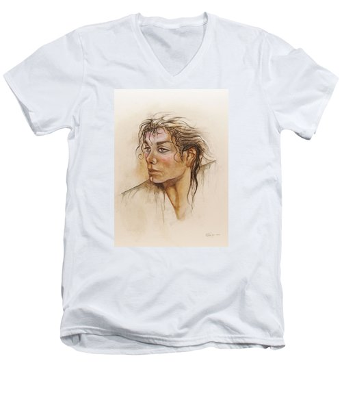 Michael Life Unfinished Men's V-Neck T-Shirt
