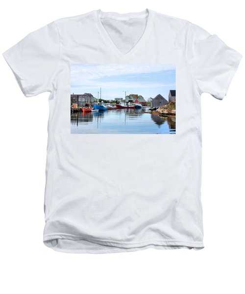 Peggys Cove Men's V-Neck T-Shirt by Kristin Elmquist
