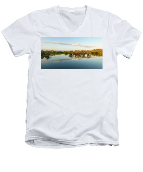 Reflection Of Trees In A Lake, Anhinga Men's V-Neck T-Shirt