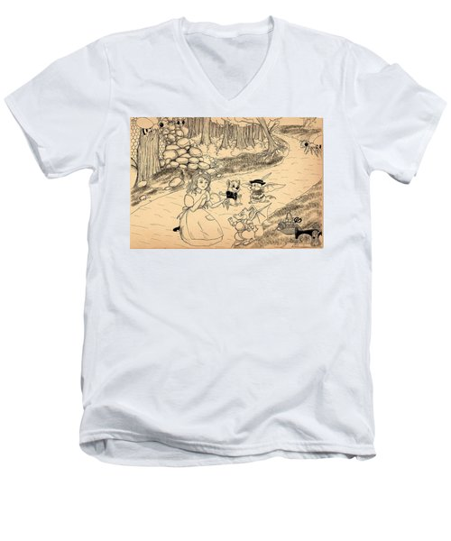 Men's V-Neck T-Shirt featuring the drawing Tammy  Meets Cedric The Mongoose by Reynold Jay