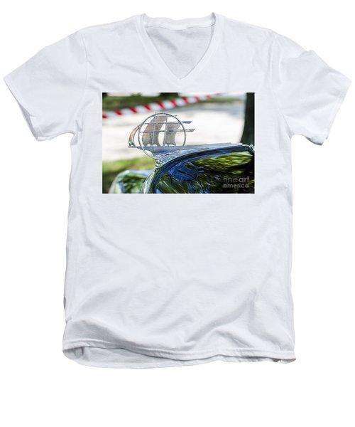 Men's V-Neck T-Shirt featuring the photograph '34 Plymouth Sedan Hood Ornament by Paul Mashburn