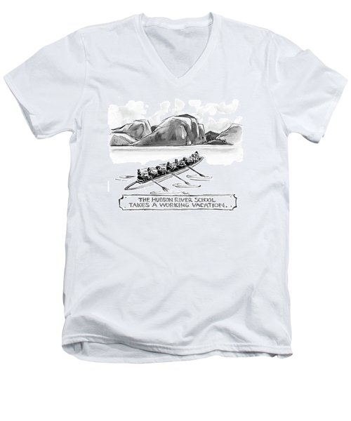 The Hudson River School Takes A Working Vacation Men's V-Neck T-Shirt