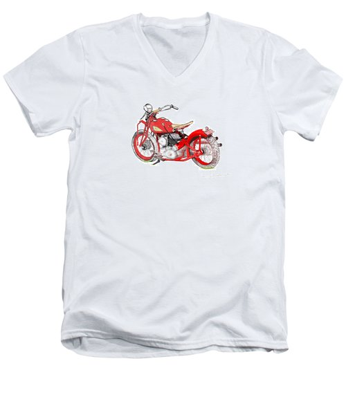37 Chief Bobber Men's V-Neck T-Shirt by Terry Frederick