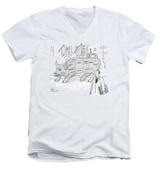 Wallstreet Bull Men's V-Neck T-Shirt