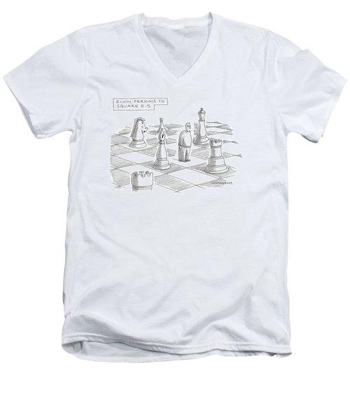 Elvin Perkins To Square E-5 Men's V-Neck T-Shirt