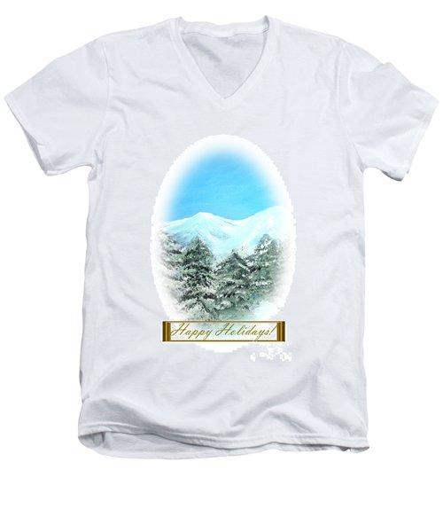Happy Holidays. Best Christmas Gift Men's V-Neck T-Shirt by Oksana Semenchenko