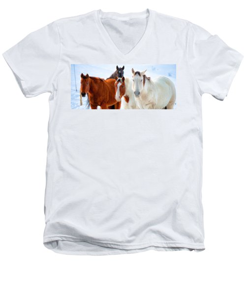 4 Horses Men's V-Neck T-Shirt