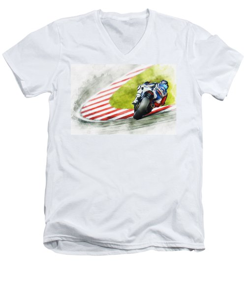 Jorge Lorenzo - Team Yamaha Racing Men's V-Neck T-Shirt