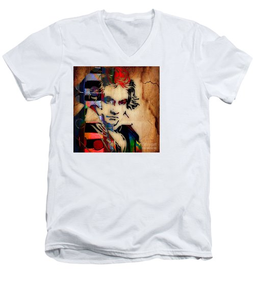 Ludwig Van Beethoven Collection Men's V-Neck T-Shirt by Marvin Blaine