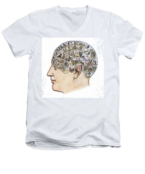 Men's V-Neck T-Shirt featuring the painting Phrenology, 19th Century by Granger