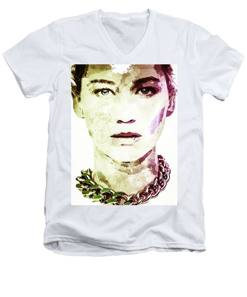 Men's V-Neck T-Shirt featuring the digital art Jennifer Lawrence by Svelby Art