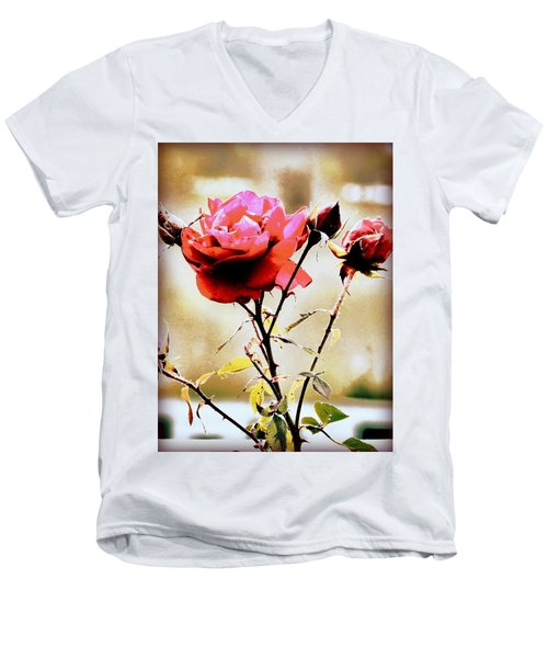 Men's V-Neck T-Shirt featuring the photograph 40 Something by Faith Williams