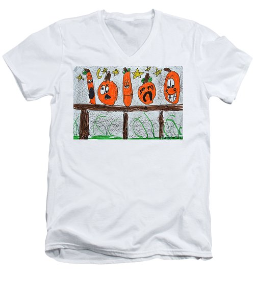5 Little Pumpkins Men's V-Neck T-Shirt by Greg Moores
