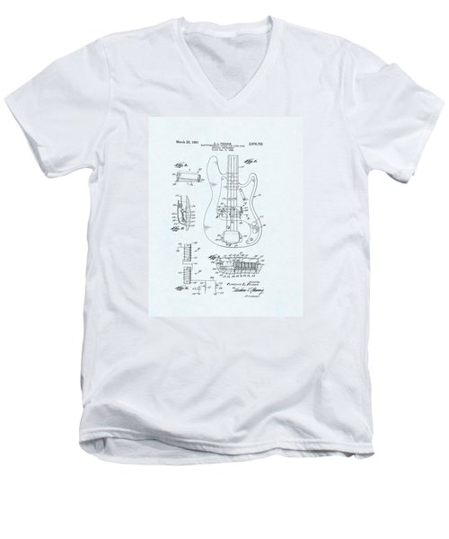 Guitar Patent Drawing On Blue Background Men's V-Neck T-Shirt