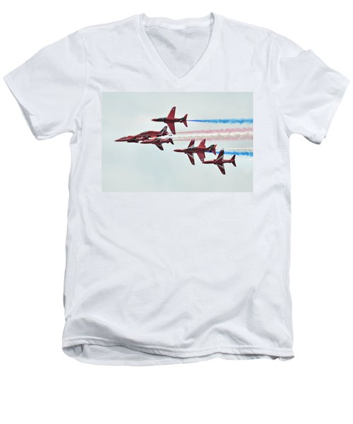 50th Anniversary 'red Arrows' Men's V-Neck T-Shirt by Tim Beach