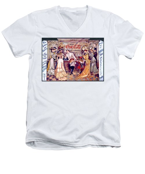 Coca - Cola Vintage Poster Men's V-Neck T-Shirt by Gianfranco Weiss