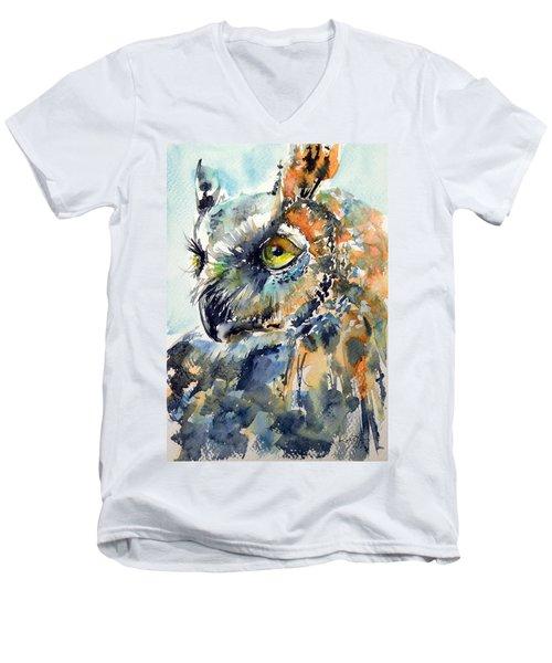 Owl Men's V-Neck T-Shirt by Kovacs Anna Brigitta