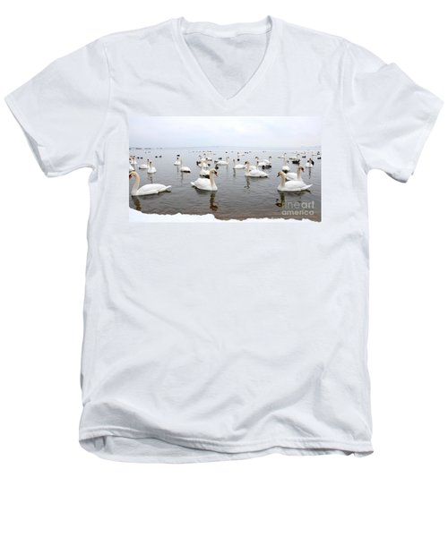 60 Swans A Swimming Men's V-Neck T-Shirt by Laurel Best