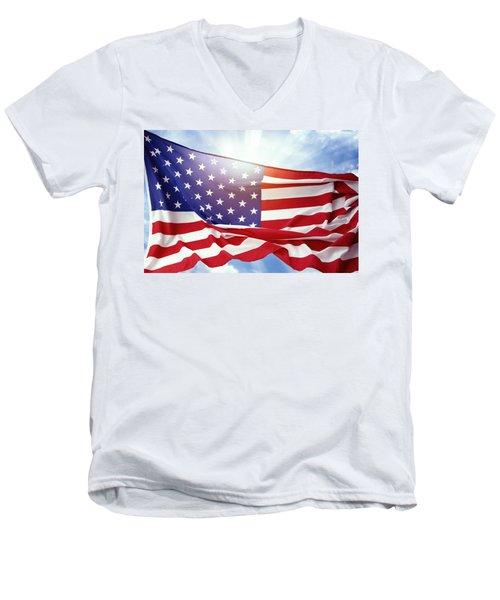 American Flag 55 Men's V-Neck T-Shirt