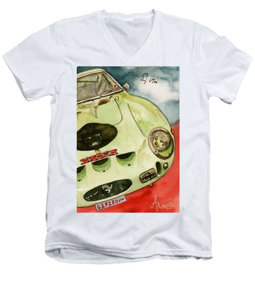 62 Ferrari 250 Gto Signed By Sir Stirling Moss Men's V-Neck T-Shirt