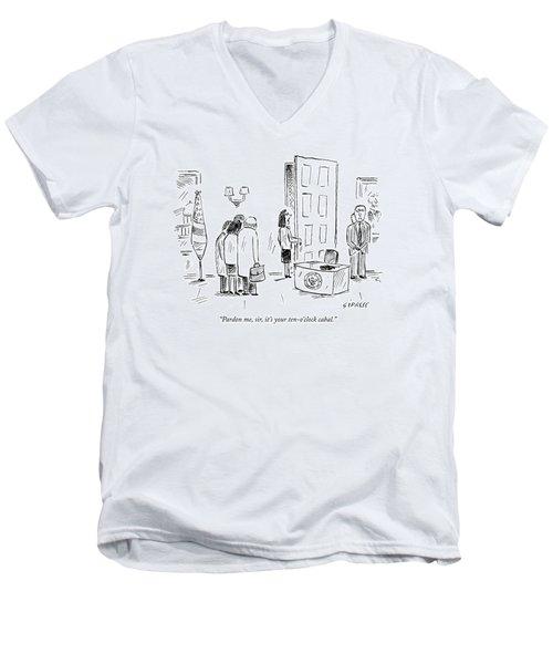 Pardon Me, Sir, It's Your Ten-o'clock Cabal Men's V-Neck T-Shirt by David Sipress
