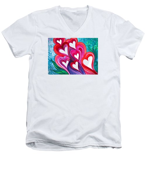 7 Hearts Men's V-Neck T-Shirt by Adria Trail